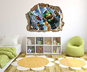 Ninja Samurai Characters - 3D Smashed Wall Effect - Wall Decal for Home Nursery Decoration (Wide 20