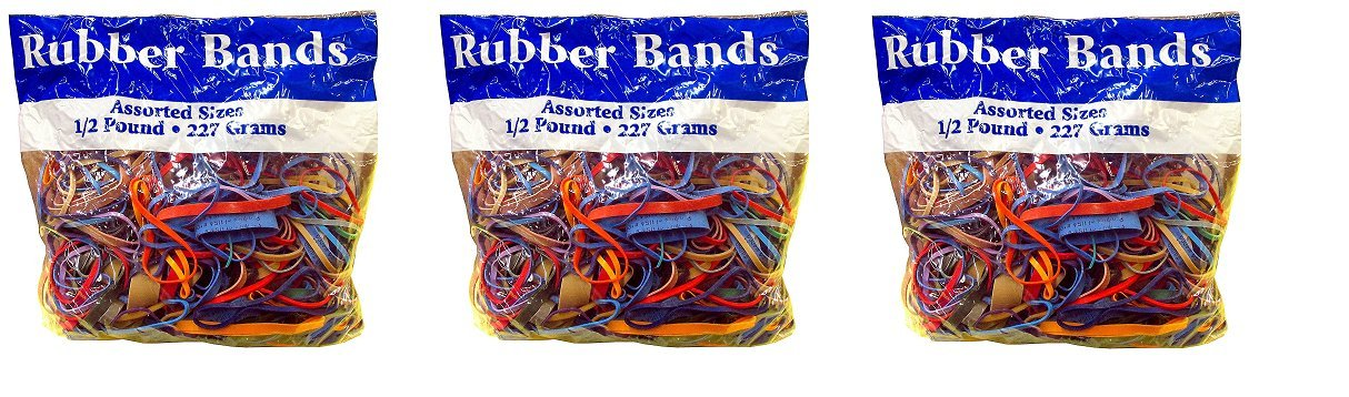 Alliance Rubber Bands Assorted Dimensions 227G/Approx. 400 Rubber Bands, Multi Color, 1/2 lb BAZIC 4001/2RBRSBRBD