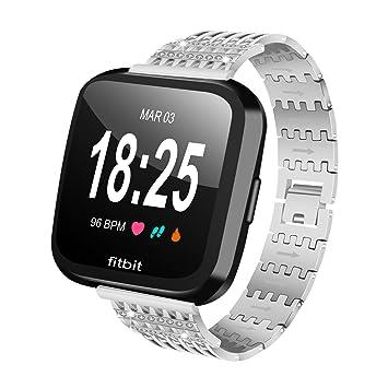 Vicara pour Fitbit Versa Band, Libération rapide en métal Bracelet de montre en acier inoxydable