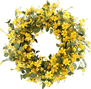 J'FLORU Decor Wreath,Yellow Daisy Wreath,22 inches,Spring and Summer Wreath for Outdoor Or Home Decor Decoration Easter Wreath