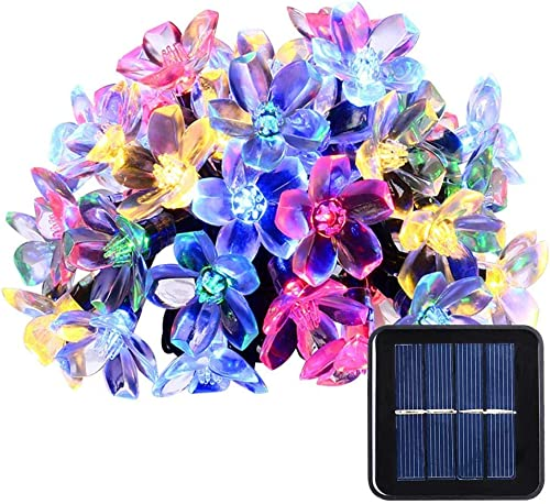 Qedertek 21ft 50 LED Solar String Lights, Fairy Blossom Solar Flower Garden Lights for Outdoor, Lawn, Wedding, Patio, Party and Holiday Decorations, 1 Pack Multi-Color