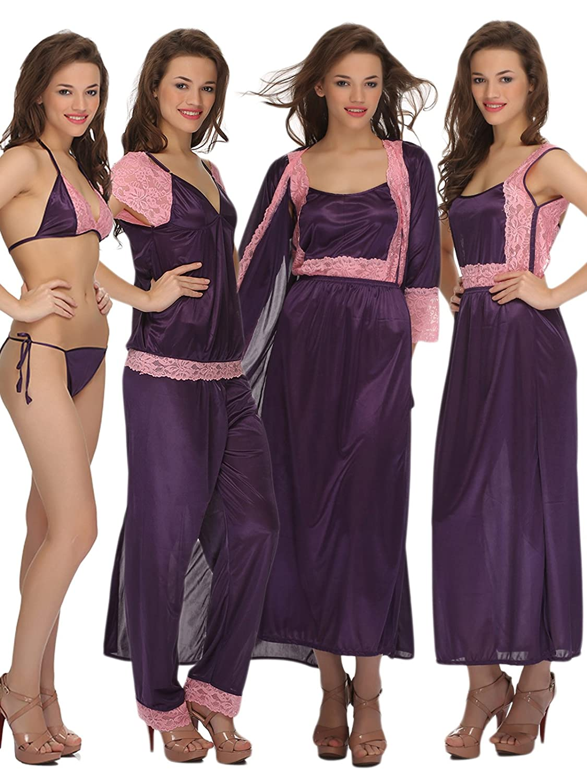 Clovia 7 Pcs Satin Nightwear Set