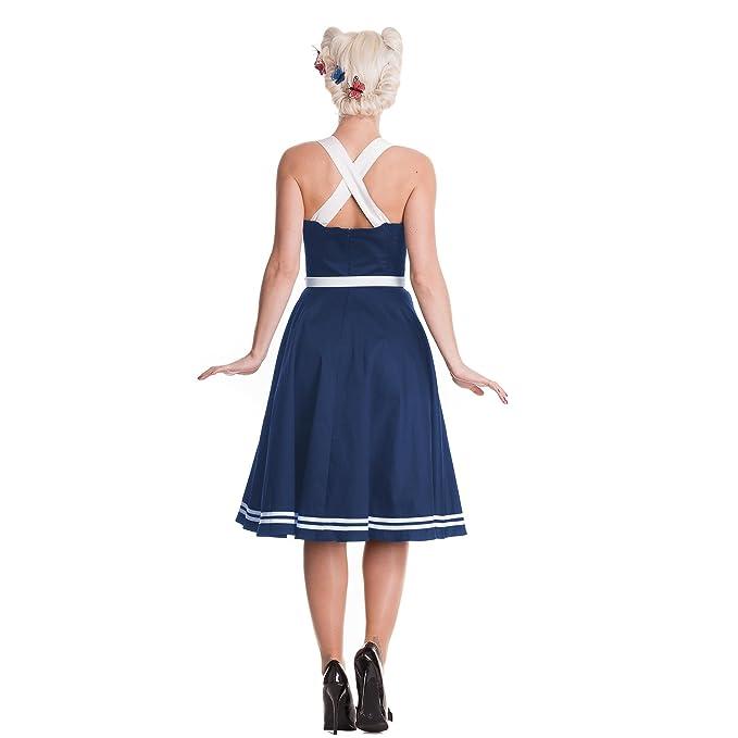 Hell Bunny - vestido rockabilly Siren - años 50 - con cinturón - con motivos de ancla - falda con vuelo - azul marino: Amazon.es: Ropa y accesorios