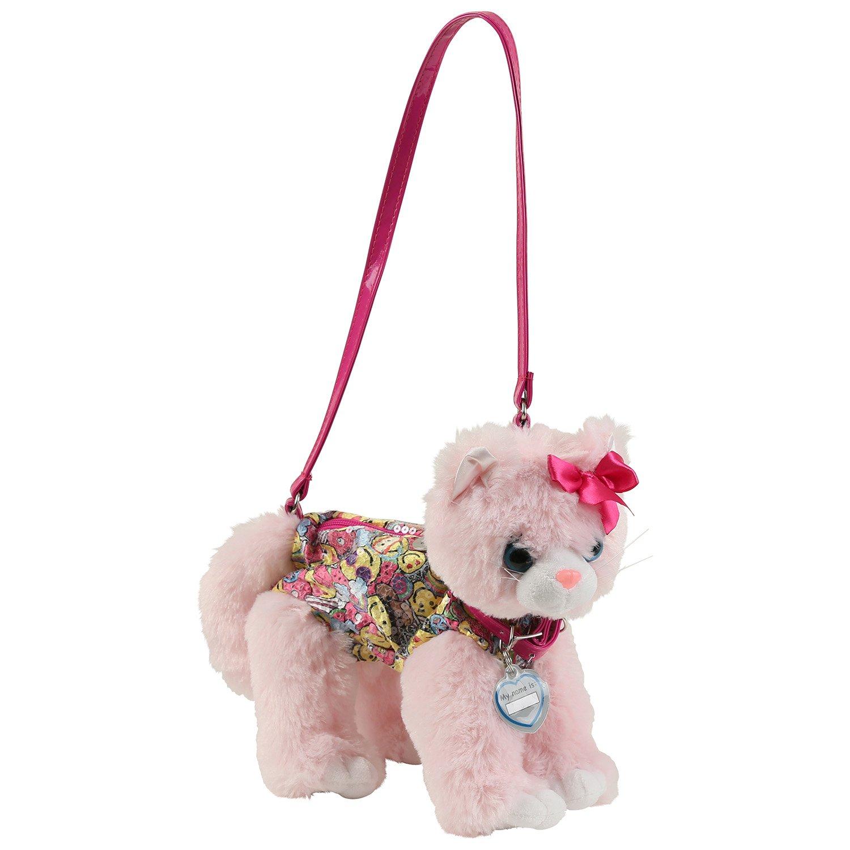 Poochie & Co. Pink Cat with Happy Party Emoji Print Plush Handbag