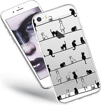 QULT Bumper Compatible pour iPhone 5s, iPhone 5, iPhone Se Coque Transparente avec Dessin Silicone Souple Etui Soft Case Ultra Slim Fine Cover ...