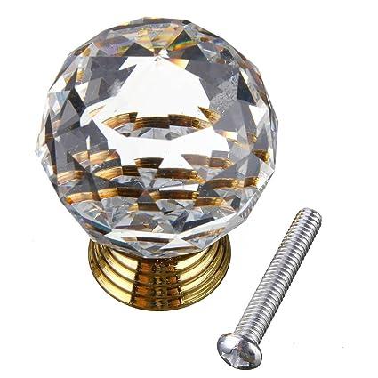 KINGSO Handle Crystal Door Knobs Gold Base Cabinet Drawer Handle