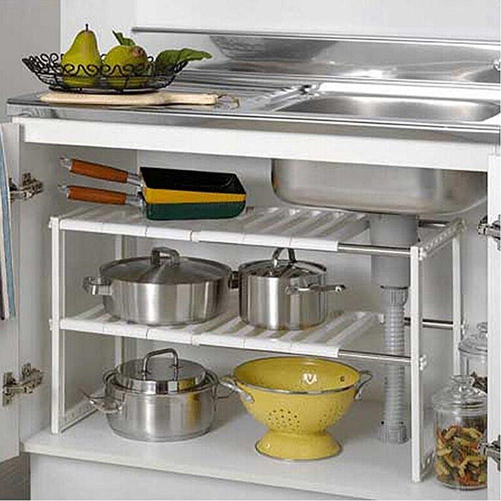 2 Tier Expandable Under Sink Shelf Storage Shelves Kitchen Organizer (White) by Luffar