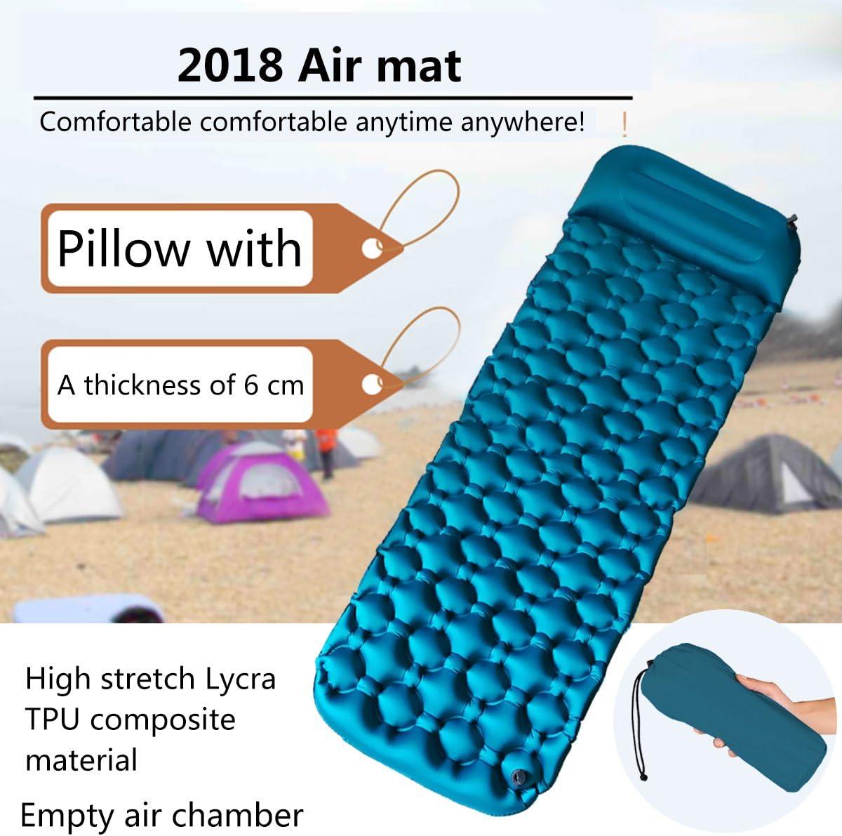527BL Esterilla Hinchable de Poliuretano termopl/ástico TPU para Acampada al Aire Libre con Almohada para Dormir