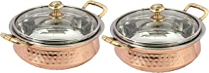 Set of 2 Indian hammered copper stainless steel serving bowl for food soup with handle and glass lid decorative seveware Size- 5 Inch