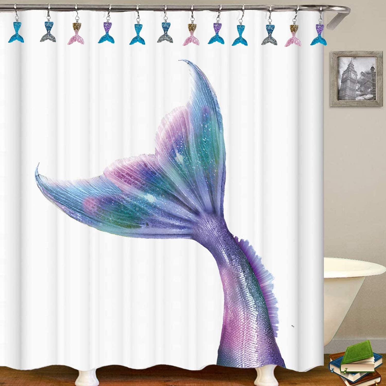 Stainless Steel Rings with Roller Balls ZILucky Set of 12 Mermaid Tail Shower Curtain Hooks Colorful Wide Whale Fish Tail Home Bathroom Decor Accessories