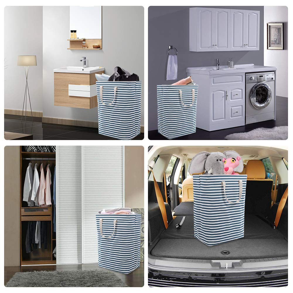 CHARMDI Laundry Hamper Blue and White Large Capacity 72L Clothes Hamper Collapsible Laundry Basket with Extended Handles Dirty Slim Hamper for Laundry Storage Clothes Toys