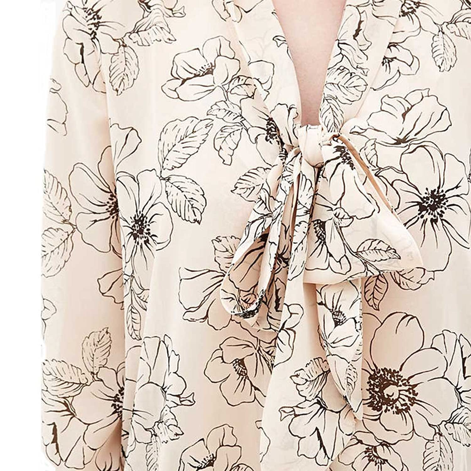 Chfashion Women's Sexy Deep V Neck Bowknot Floral Printed Chifffon Blouse Beige
