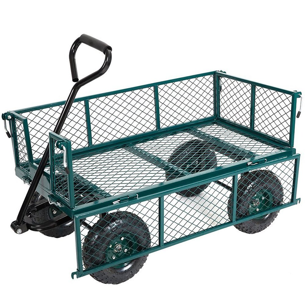 Karmas Product Large Utility Wagon Cart Heavy Duty Outdoor Folding Garden Carts,Load Capacity(600 Lb),Green