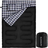 Canway Double Sleeping Bag Flannel Sleeping Bags with 2 Pillows for Camping, Backpacking, or Hiking Outdoor. 2 Person Waterproof Sleeping Bag for Adults or Teens. Queen Size XL