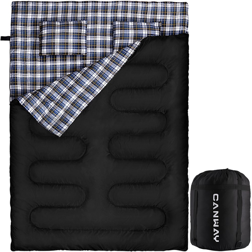 CANWAY Double Sleeping Bag, Flannel Lightweight Waterproof 2 Person Sleeping Bag with 2 Pillows for Camping, Backpacking, or Hiking Outdoor for Adults or Teens Queen Size XL Flannel