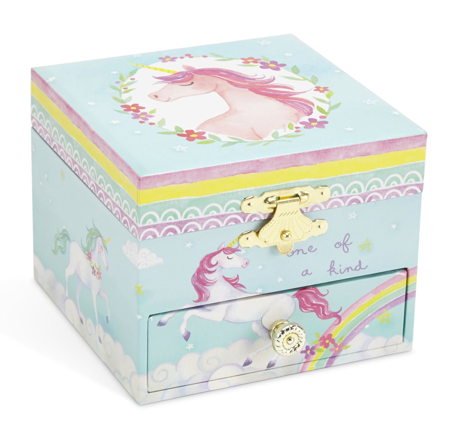 JewelKeeper Musical Jewelry Box, Unicorn Rainbow Design with Pullout Drawer, The Unicorn Tune by JewelKeeper (Image #2)