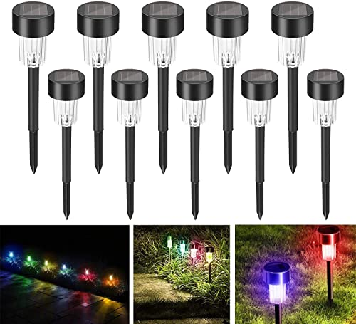 Multicolor Solar Garden Lights Outdoor, 10 Pack Waterproof Solar Powered Outdoor Yard Lights Outdoor Solar Path Lights Landscape Path Lights for Walkway Solar Outdoor Lights Lighting