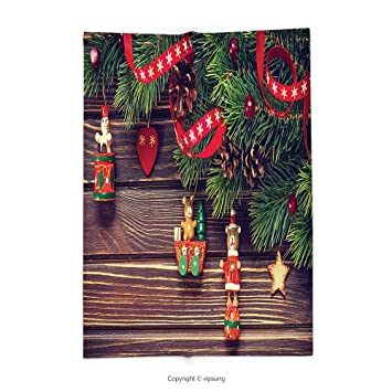 custom printed throw blanket with christmas decorations collection rustic wood backdrop december old fashioned christmas time