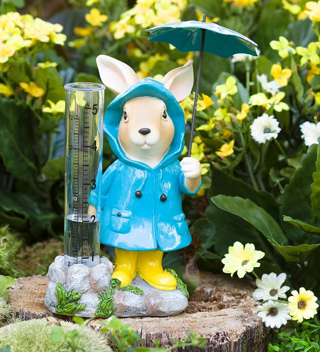 Animal in Rain Gear Decorative Rain Gauge - Outdoor Yard and Garden Statue - 5 L x 3 W x 7 H - Bunny
