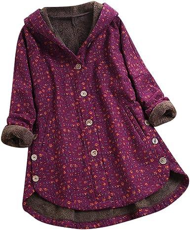 LANSKIRT Camisa de Las Mujeres Impresión de Cuadros Manga Larga Tallas Grandes Loose Casual Blusa con Botones en la Parte Superior del botón de Bolsillo (Rojo 03, L): Amazon.es: Ropa y accesorios