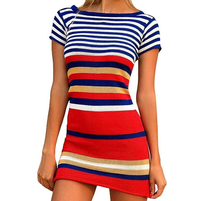 Botrong Women Polka Dot O-Neck Short Sleeve Summer Plus Size Maxi Dress