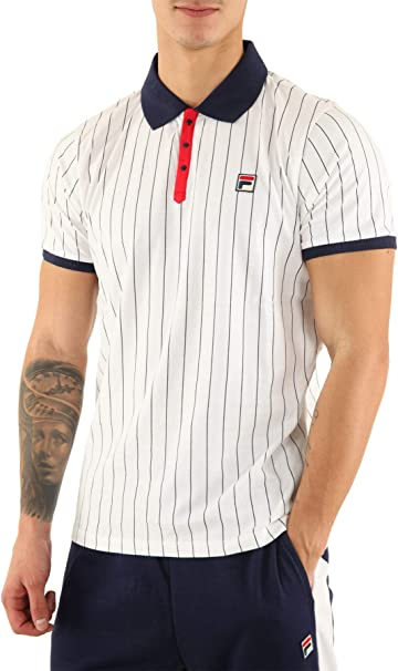 Fila Vintage Settanta Polo Shirt White/Red/Navy: Amazon.es: Ropa y ...