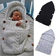 JVK Swaddle Wrap or Blanket - Newborn infant Knit Sleeping Bag Sack (2 Pack)