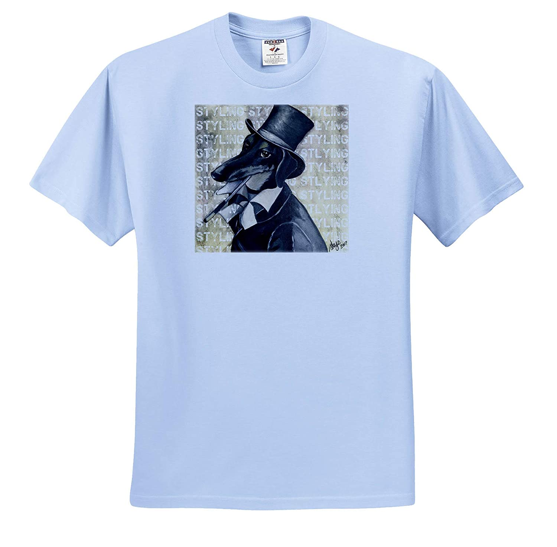 3dRose Skye Elizabeth Designs Fancy Styling Daschund Wearing top hat and Coat ts/_308694 Adult T-Shirt XL