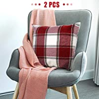 2-Pack i-FSK Buffalo Check Throw Pillow Cover (Red+White Plaid)