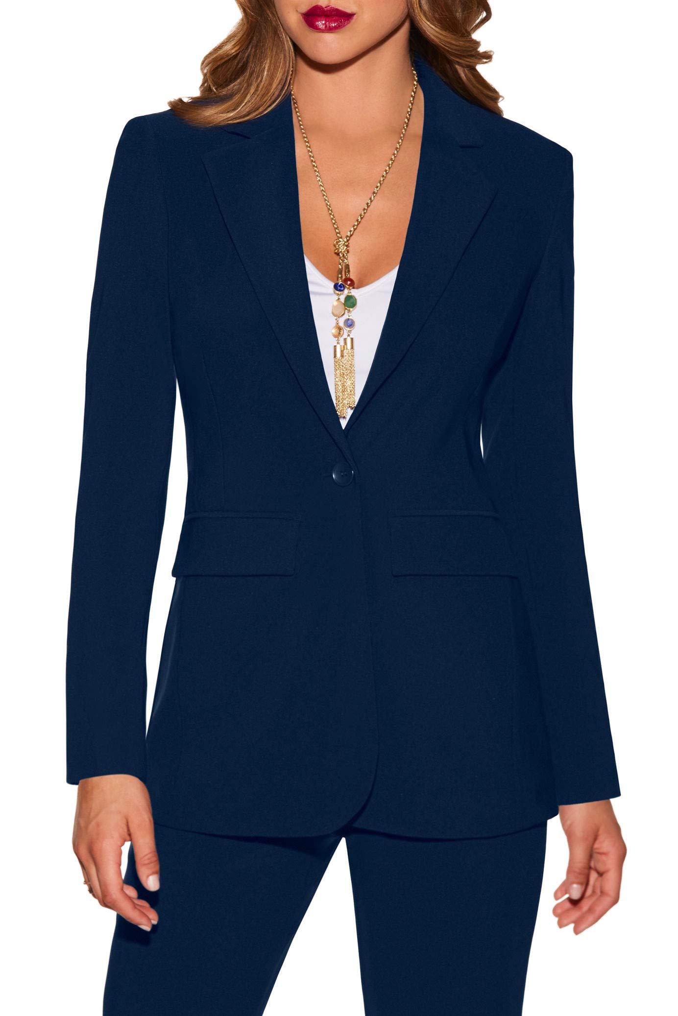 Beyond Travel Women's Wrinkle-Resistant Classic One-Button Solid Color Boyfriend Knit Blazer Maritime Navy 10