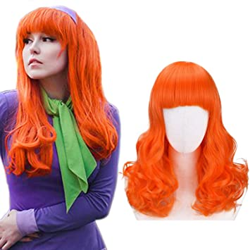 Juziviee Women Orange Wigs for Daphne Cosplay Costume Ginger Wigs for Kids Long Copper Hair Wig with Bangs Cute Synthetic Wigs for Party Halloween AD026OR2