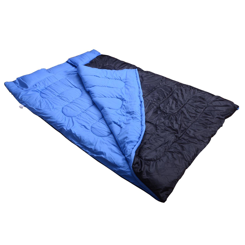 Sac de Couchage Double avec 2 oreillers Tres Confortable Contre Basse Temperature Noir