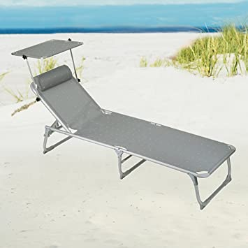 Bon Beach And Deck Chair With Sun Canopy Tintoretto, Colour: Platinum