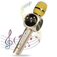 Microphone Sans Fil Karaoké, Innoo Tech 4 en 1 Micro Karaoké Bluetooth, 2 Haut-Parleur Stéréo Intégré, Compatible avec Android/IOS / PC/Smartphone (Or) Pour KTV Fête Mariage
