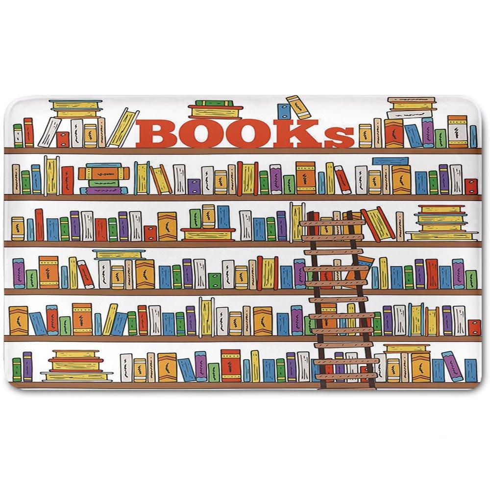 Memory Foam Bath Mat,Modern,Library Bookshelf with A Ladder School Education Campus Life Caricature IllustrationPlush Wanderlust Bathroom Decor Mat Rug Carpet with Anti-Slip Backing,Multicolor
