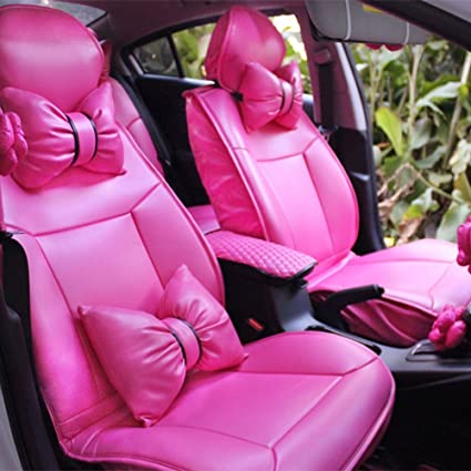 Mycutie Charming Hot Pink Bowknot Universal Car Seat Covers Front And Rear Leather 13pcs