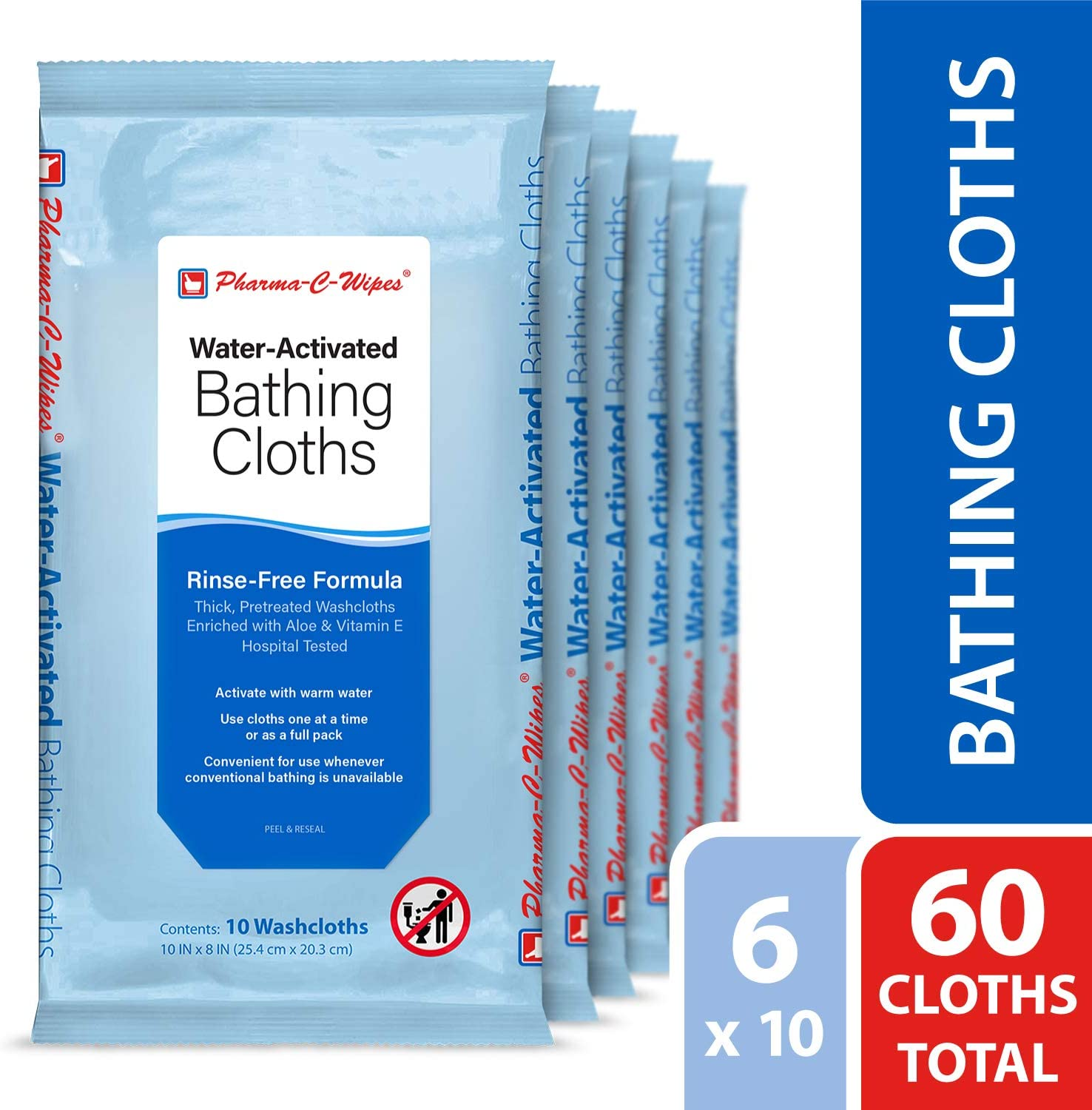 Pharma-C-Wipes Water Activated Bathing Cloths - Rinse Free - Thick, Pretreated Washcloths (6 Packs of 10 Wipes)