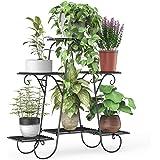 Elekin 6 Tier Metal Shelves Flower Pot Plant Stand Display Indoor Outdoor Garden Patio Plant Rack (Black)