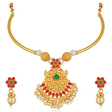2f2bfc20260d1 Buy Apara Contemporary Choker Pendant Necklace Earrring Pearl ...