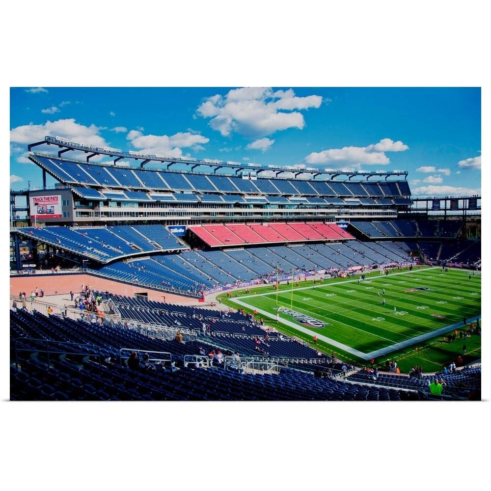 """GREATBIGCANVAS Poster Print Entitled Elevated View of Gillette Stadium, New England Patriots, Boston, MA by Panoramic Images 60""""x40"""""""