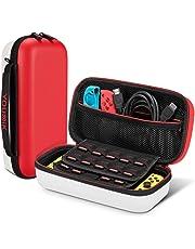 Funda para Nintendo Switch – younik Versión Mejorada Viaje rígida Case con más Espacio de Almacenamiento para 19 Juegos, Protector Pantalla - Rojo & Blanco
