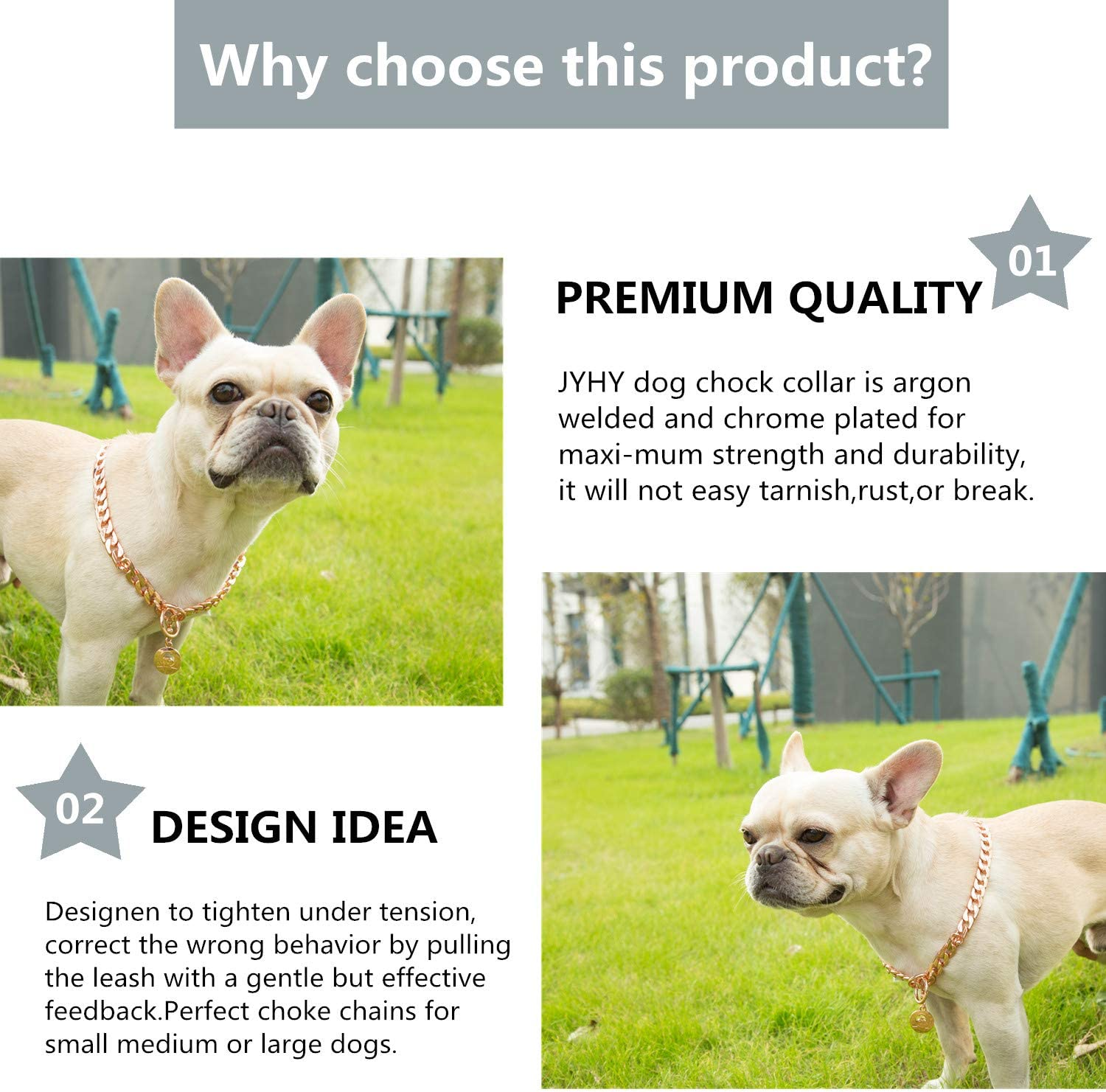 JYHY Stainless Steel P Chock Metal Chain Dog Necklace Collars Walking Training Pet Supplies for Small Medium Large Dogs,Bronze 45cm