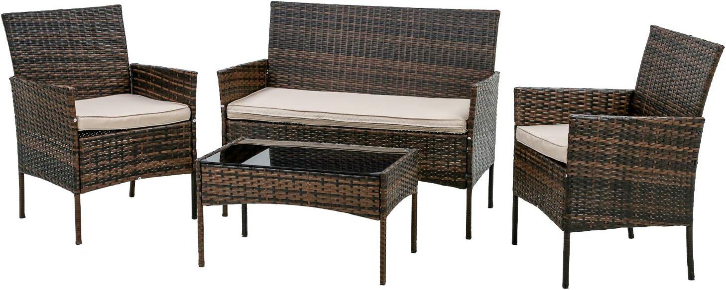 FDW Patio Furniture Set 4 Pieces Outdoor Rattan Chair Wicker Sofa Garden Conversation Bistro Sets for Yard (Brown)