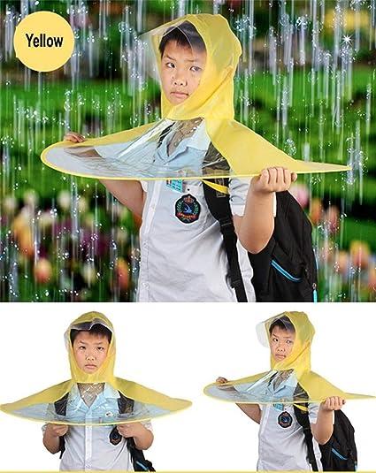 Creative Impermeable Paraguas Sombrero Gorro Gorra Exterior Niño Lluvia Abrigo Cubierta Transparente Paraguas,Yellow