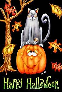 Toland Home Garden Pumpkin Cat 12.5 x 18 Inch Decorative Happy Halloween Autumn Leaves Kitty Jack-O-Lantern Garden Flag