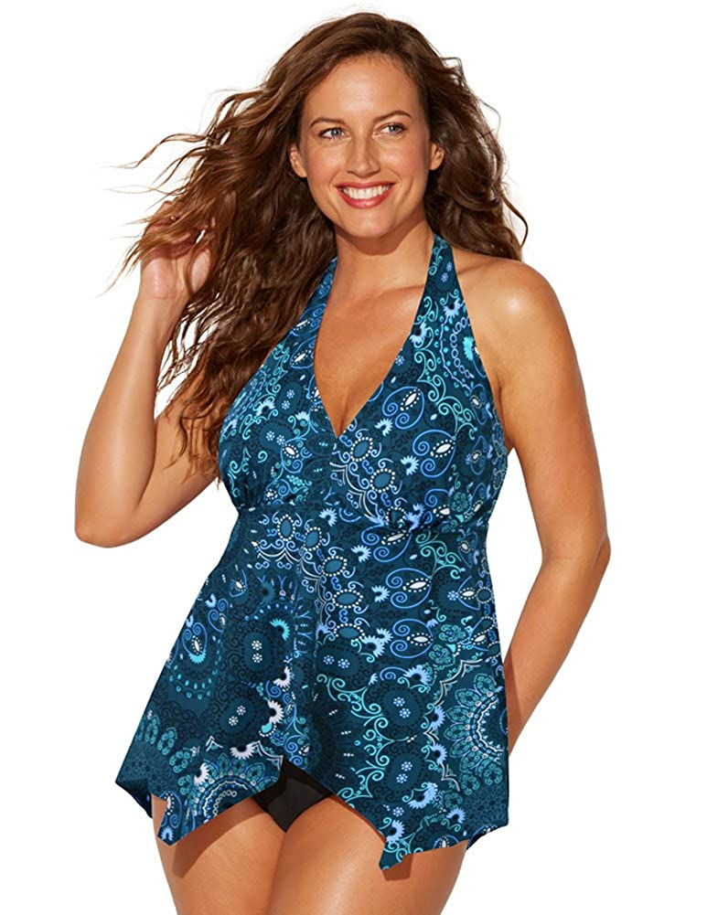 Swimsuits for All Women's Teal Paisley Halter Tankini Top swimsuitsforall 641339-pn