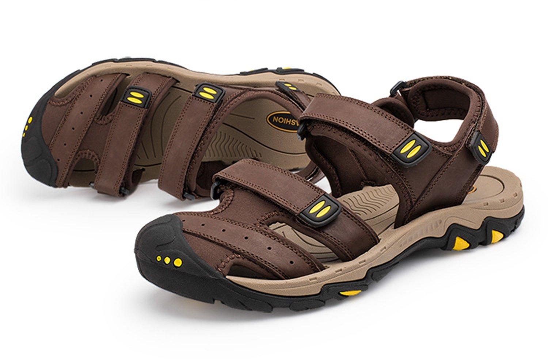 Pakamo Herren Sandalen aus echtem Leder Sommer Fischer Strand Männer Outdoor Sandale Hausschuhe Closed Toe rutschfeste Gummisohlen Wasser Schuhe A