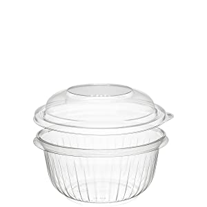 Dart Solo PET16BCD 16 oz Clear PET Bowl with Dome Lid (Case of 252 Bowls w/Lids)