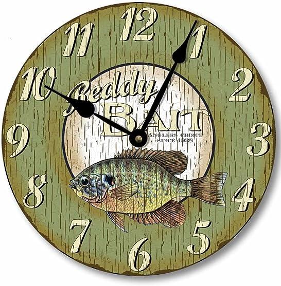 Fairy Freckles Studios Item C5001 Retro Vintage Style Fish Clock 12 Inch Diameter