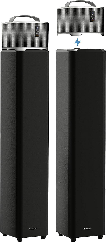 Soundstream Sound Tower Floor-Standing 35w Speaker Super Bass 20w subwoofer 360 Degree Sound|Bonus Detachable BT Speaker